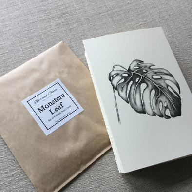 Set of 6 Monstera Leaf Note Cards