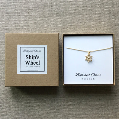 Gold Ship's Wheel Necklace