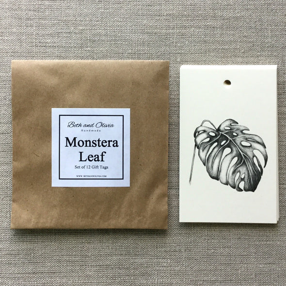 Set of 12 Monstera Leaf Gift Tags