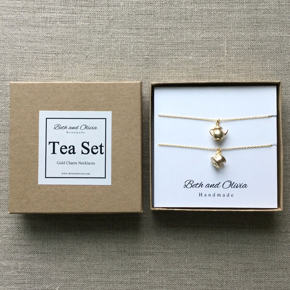 Gold Tea Set Charm Necklaces