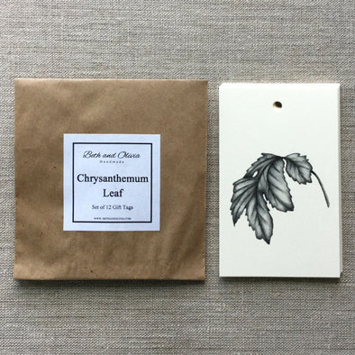Set of 12 Chrysanthemum Leaf Gift Tags