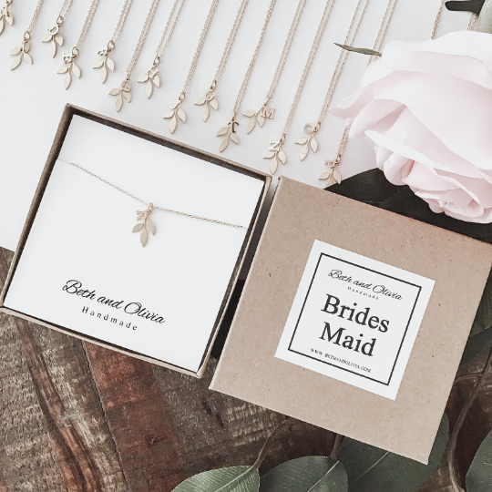 Gold Bridesmaid Leaf Necklace