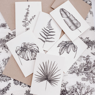 Set of 6 Assorted Leaf Note Cards