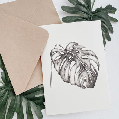Monstera Leaf Card