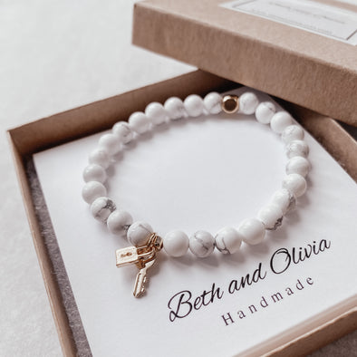 50% off Gold Lock and Key Howlite Bracelet