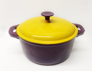 Dutch Oven Purple & Gold Enamel with Purple Knob 5qt