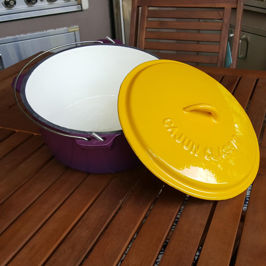 Dutch Oven Purple & Gold Enamel 9qt