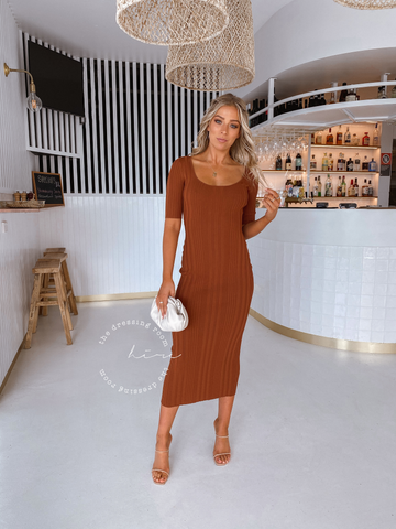 Bec + Bridge Toulouse Knit Midi in Burnt Copper
