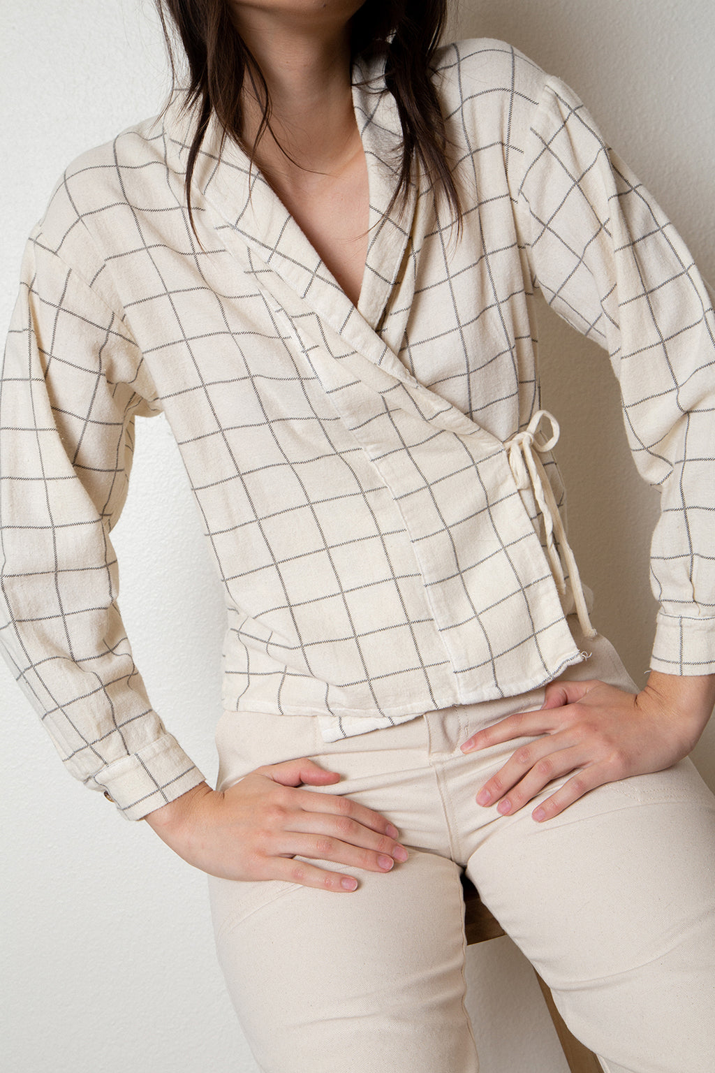 flannel check wrap blouse