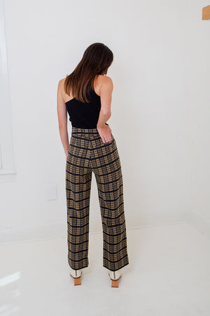 Raw Silk Windowpane Pant