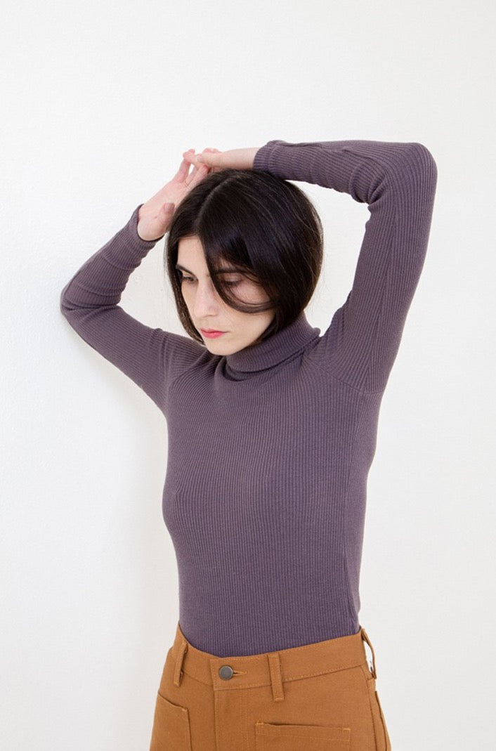 Soft Ribbed Turtleneck in Grey