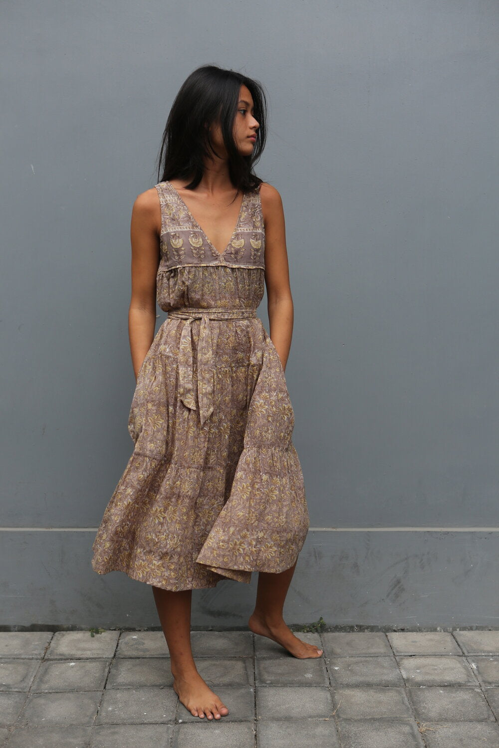 Cotton Block Print Dress