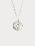 Rose Coin Necklace in Silver