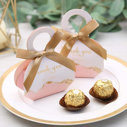 12 Pieces Rose Gold Floral Love Treat Bags Party Supplies