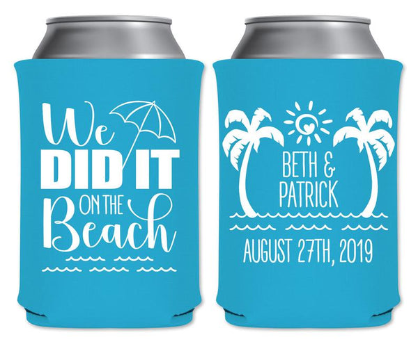 It all started on the beach Beach Wedding Favors Wedding Ideas 416 Wedding Can Covers Tropical Wedding Favors