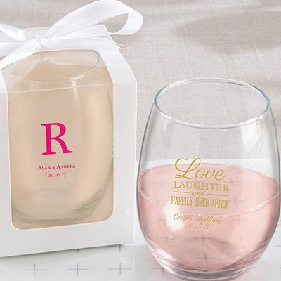 Stemless 9 Ounce Glass Set of 24 Custom Personalized Celebrate the Wedding Of SD8ZD Top Seller