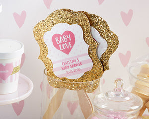 Baby Love Glitter Fan - Gold