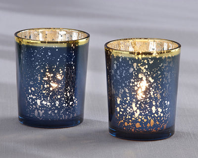 Mercury Glass Tea Light Holder - Blue