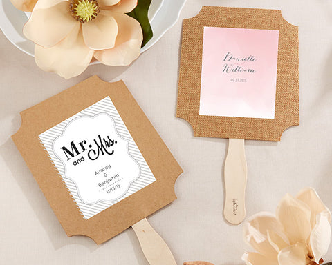 Two-Sided Burlap Fans (Set of 12) - Forever Wedding Favors