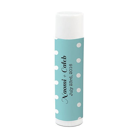 Personalized wedding favor polka dot lip balm
