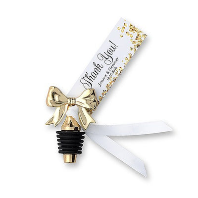 Beautiful golden bow wine stopper wedding favor