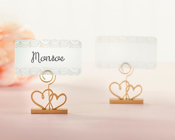 Double Heart Place Card Holder - Gold