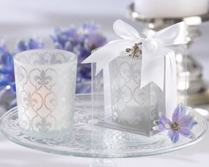 Fleur De Lis Frosted Glass Tea Light Holder