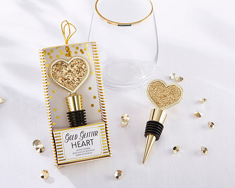 Glitter Heart Bottle Stopper - Gold