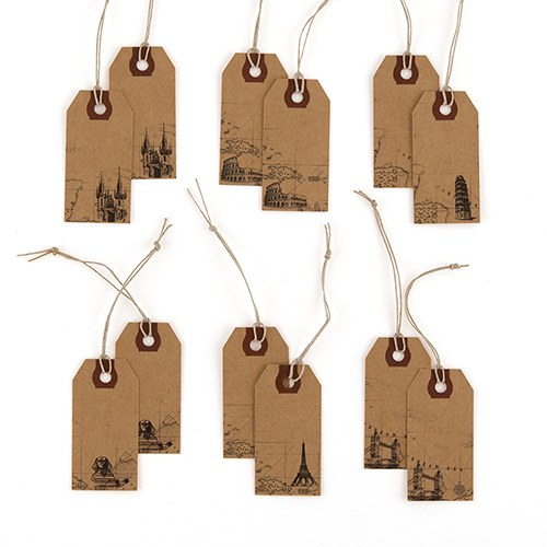 """Global Destinations"" Vintage Paper Shipping Tags With Twine Ties"