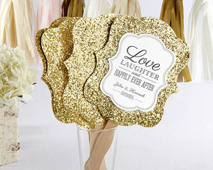 Glitter Hand Fan - Gold (Set of 12)