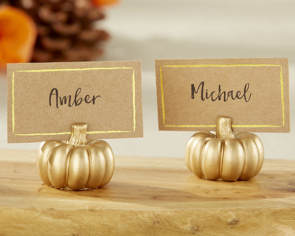 Pumpkin Shaped Place Card Holders - Gold