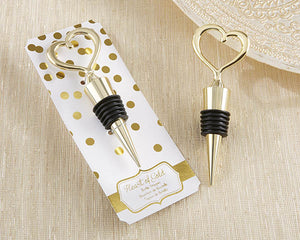 Heart Shaped Bottle Stopper - Gold