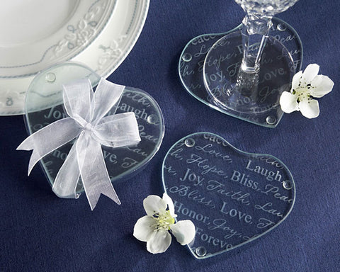 Heart's Good Wishes - Glass Coaster