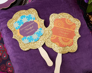 Indian Jewel Glitter Hand Fan