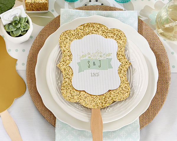 Pretty Rustic Themed Hand Fans - Gold
