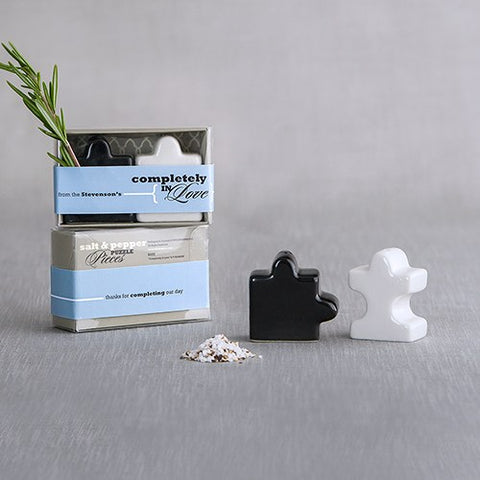 Salt and Pepper Shaker Puzzle Pieces - Black and White