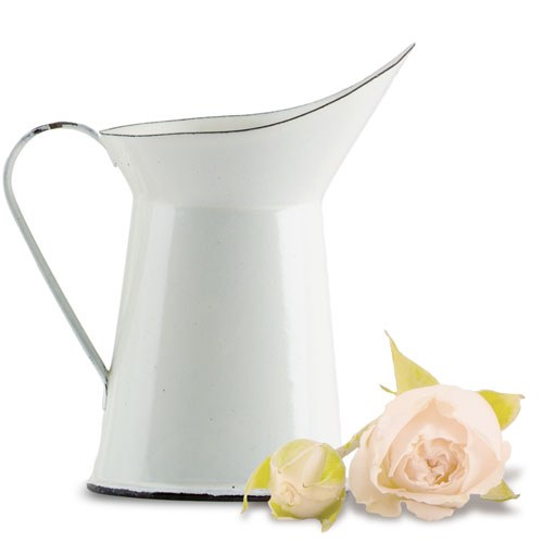 Vintage White Enamelware Pitcher