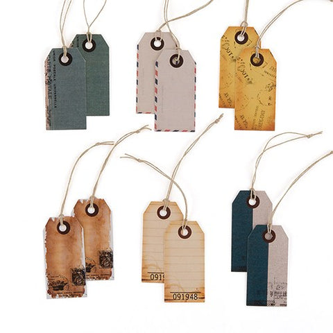 """Well Traveled"" Vintage Paper Shipping Tags With Twine Ties"