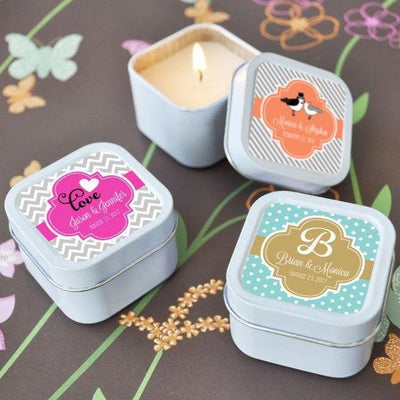 Colorful Square Candle Tins