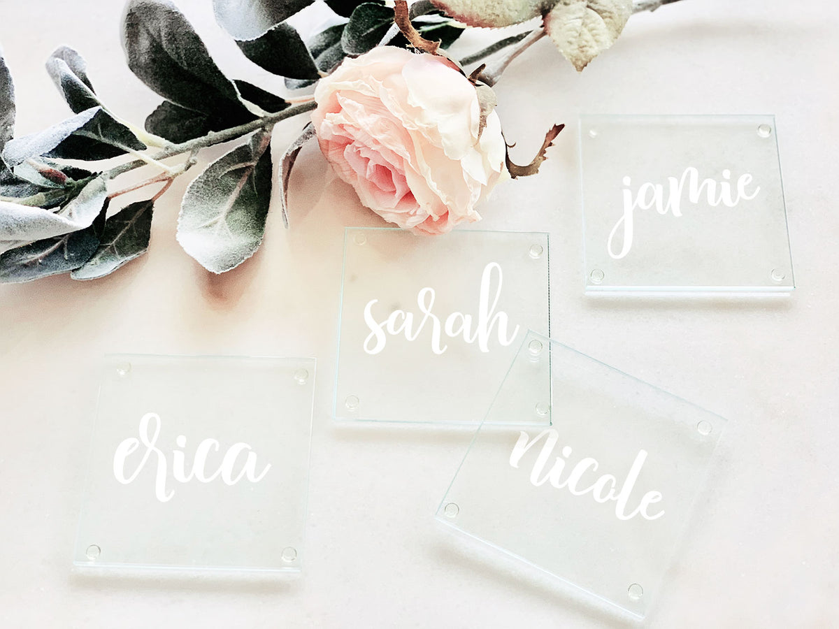 Glass Place Card Coaster