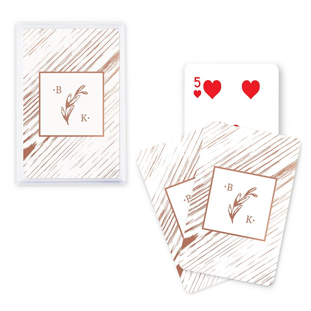 Rustic Monogram - Metallic Foil Playing Cards