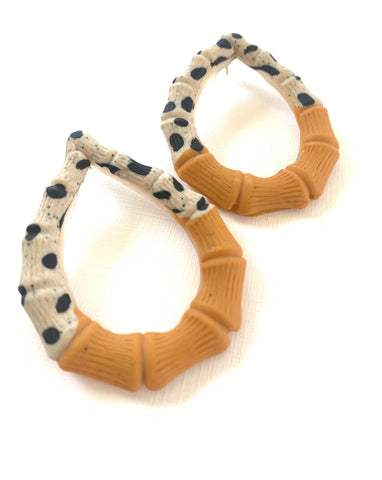 Polka Dot Bamboo Earrings