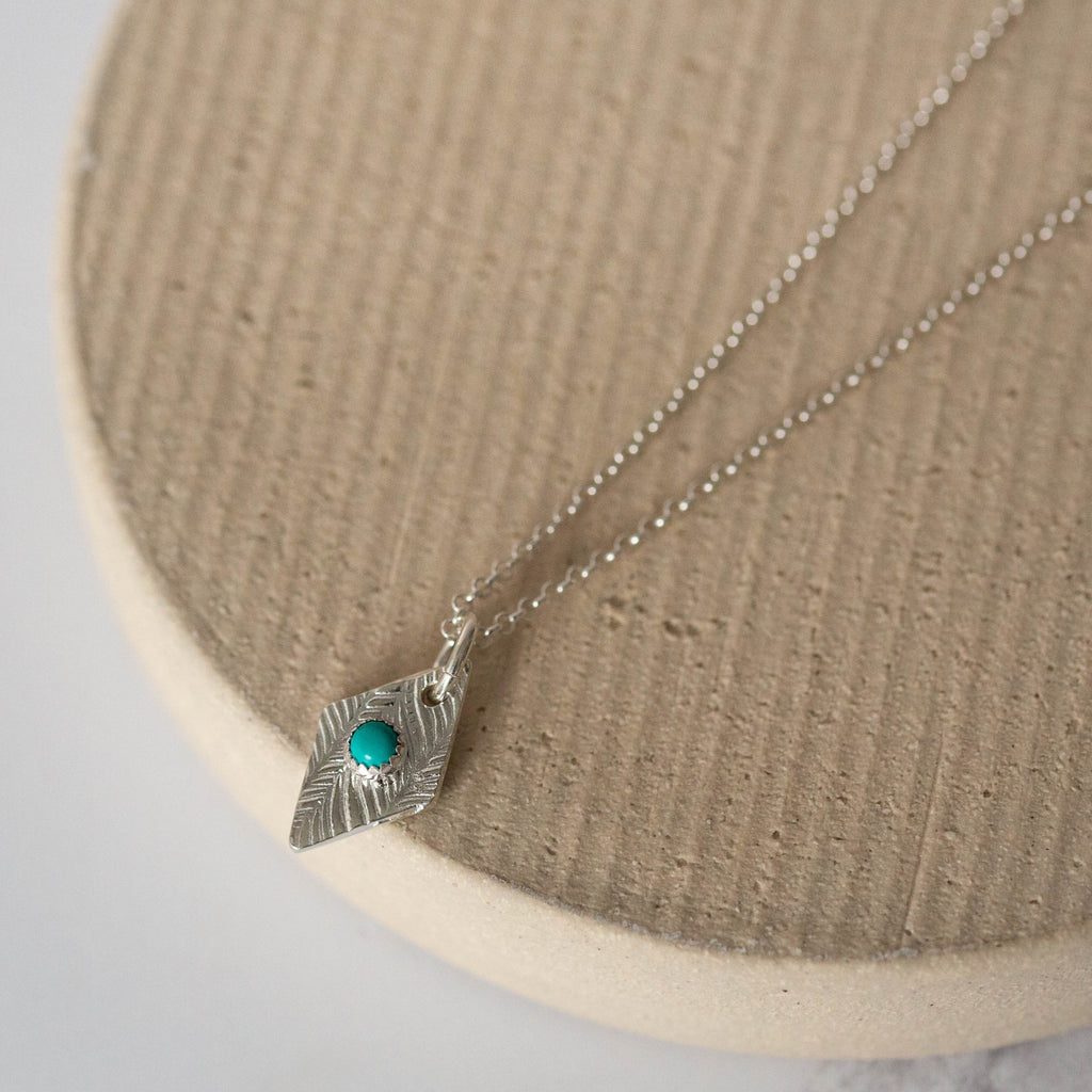 Sterling Silver Diamond with Turquoise Pendant