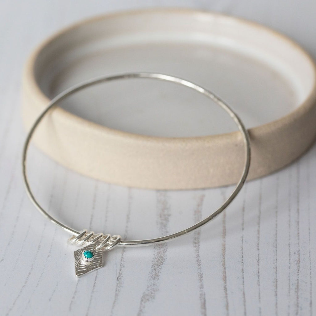 sterling silver diamond charm with real turquoise bangle handmade by Lucy Kemp Jewellery