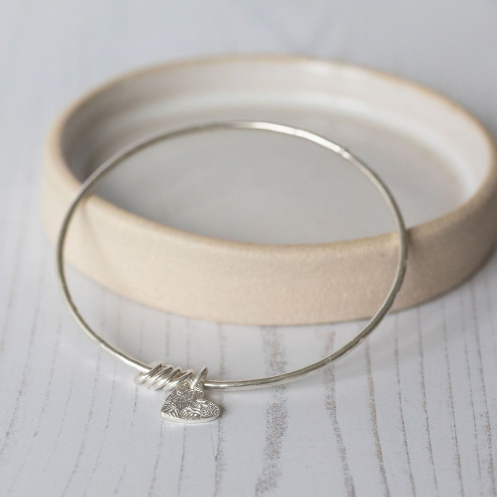 sterling silver textured heart charm bangle handmade by Lucy Kemp Jewellery