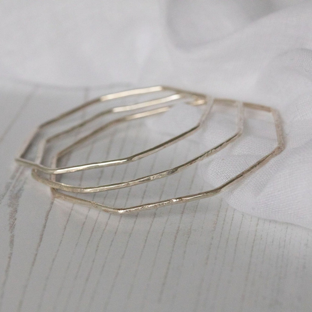 Sterling silver geo octagon wire bangle handmade by Lucy Kemp Jewellery