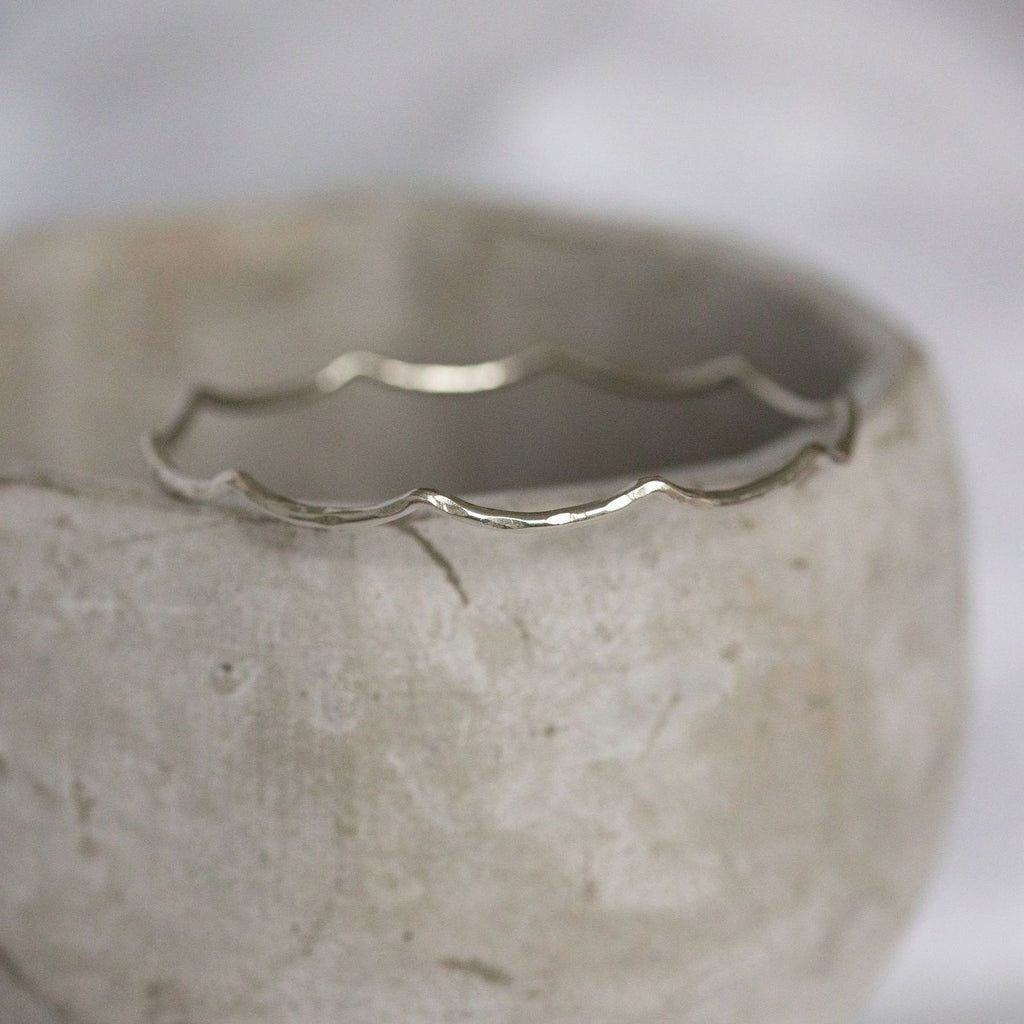sterling silver wire wave bangle handmade by Lucy Kemp Jewellery in Cornwall