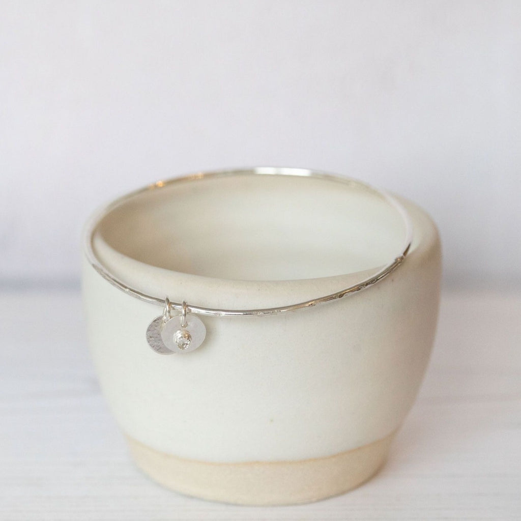 Sterling silver birthstone boho bangle handmade by Lucy Kemp Jewellery