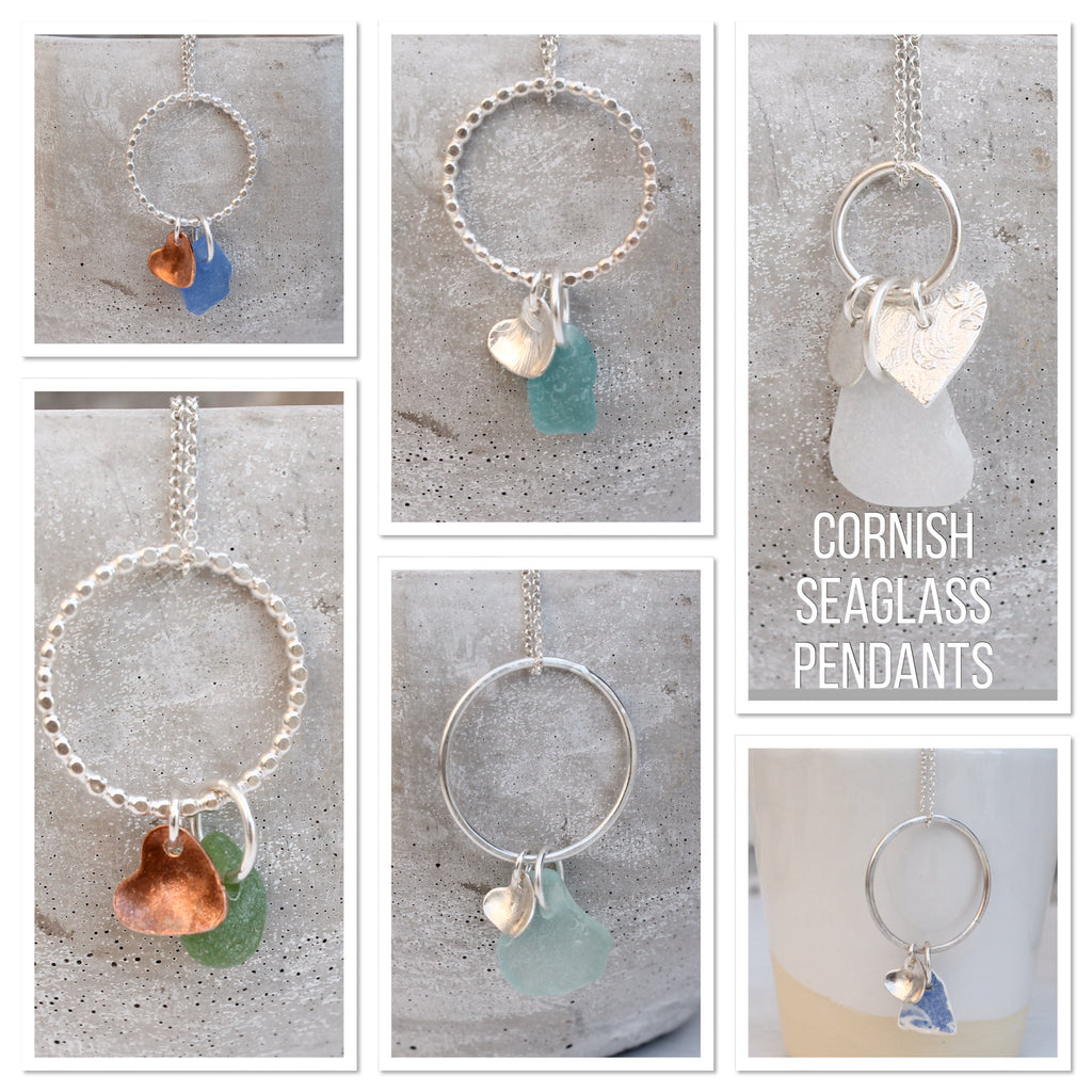 sterling silver and Cornish Sea Glass Pendants by Lucy Kemp Jewellery