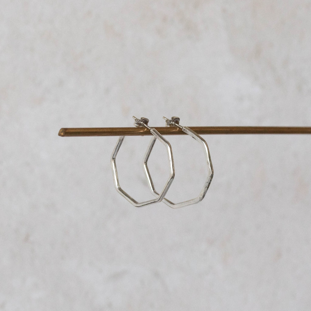 Sterling Silver Octagon Everyday Hoop Earring